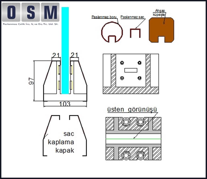 Bazalı Sistem Cam Korkuluk çizim